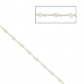 Chain with faceted glass bead 2.95 mm Gold Tone/White Opal x1m