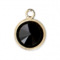 Pendant 8.5x6.5 mm Jet/14Kt Gold-filled  x1