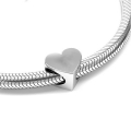 925 Sterling Silver Slip bead / bead for 4 mm cord - Heart x1