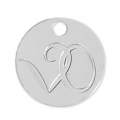 925 Sterling Silver Round charm to personalize 10 mm x100