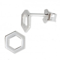 925 Sterling Silver hexagon earstuds 7 mm x2