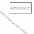 Oval closed links chain 2 mm Matt Silver Tone x1m