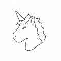Wooden stamp pad 4.5x4.5 cm Unicorn x1