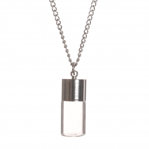 Silver Tone necklace with glass pendant to fill 25x10 mm - Bottle x1