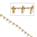 Bead chain with curb links 1.60 mm Matt Gold Tone x50cm