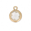 Faceted charm imitation gemstone 10 mm Satin gold/Crystal x1