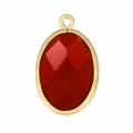 Faceted oval pendant imitation gemstone 20x13 mm Satin Gold/Red Coral x1