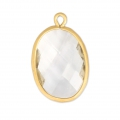 Faceted oval pendant imitation gemstone 20x13 mm Satin Gold/Crystal x1