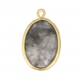 Faceted oval pendant imitation gemstone 20x13 mm Satin Gold/Grey x1