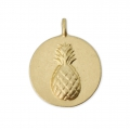 Round charm 12 mm - relief pineapple pattern - Satin Gold x1