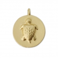 Round charm 12 mm - relief turtle pattern - Satin Gold x1