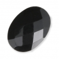 Oval faceted cabochon 14x10mm Black Onyx