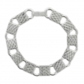 Bracelet base for 11 oval cabochons 10 mm Silver Tone x1
