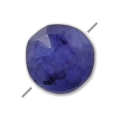 Faceted dyed Sillimanite puck imitation Saphir 6 mm x1