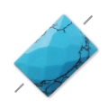 Faceted reconstituted rectangle Turquoise 5x7 mm x1