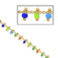 Chain with seed beads 2 mm Multicoloured/Gold Tone x 50cm