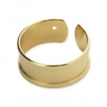 Eco brass adjustable ring with curved edges and one hole 8.5 mm Gold Tone x1