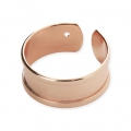 Eco brass adjustable ring with curved edges and one hole 8.5 mm Rose Gold Tone x1