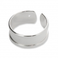 Eco brass adjustable ring with curved edges and one hole 8.5 mm Silver Tone x1
