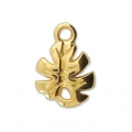 Charm - tropical shape - Philodendron leaf 12 mm Gold Tone  x1