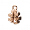Charm - tropical shape - Philodendron leaf 12 mm Rose Gold Tone x1
