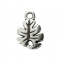 Charm - tropical shape - Philodendron leaf 12 mm Silver Tone x1
