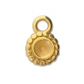 Round medal charm for 4 mm cabochon or rhinestone - Gold Tone x1