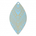 Drop pendant with ethnic pattern 49x26 mm Baby Blue/Gold Tone x1
