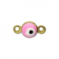 Lucky eye mini spacer with epoxy resin 9x5 mm Pink x1
