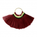 Fan pendant with cotton tassels 80x55 mm Bordeaux/Gold Tone x1
