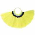 Fan pendant with cotton tassels 80x55 mm Yellow/Gold Tone x1