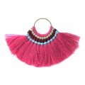 Fan pendant with cotton tassels 80x55 mm Fuchsia/Gold Tone x1