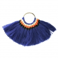 Fan pendant with cotton tassels 80x55 mm Blue/Gold tone x1