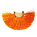 Fan pendant with polyester tassels 80x55 mm Orange/Gold Tone x1
