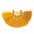 Fan pendant with polyester tassels 80x55 mm Yellow/Gold Tone x1