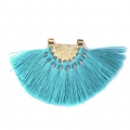 Fan pendant with polyester tassels 80x55 mm Turquoise/Gold Tone x1