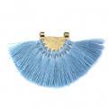 Fan pendant with polyester tassels 80x55 mm Baby Blue/Gold Tone x1