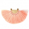 Fan pendant with polyester tassels 80x55 mm Salmon/Gold Tone x1