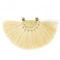 Fan pendant with polyester tassels 80x55 mm Cream/Gold Tone x1