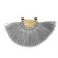 Fan pendant with polyester tassels 80x55 mm Grey/Gold Tone x1