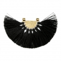 Fan pendant with polyester tassels 80x55 mm Black/Gold Tone x1