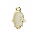 Metal and imitation opal Hand of Fatma charm 15 mm White/Gold Tone x1