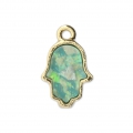 Metal and imitation opal Hand of Fatma charm 15 mm Blue/Gold Tone x1