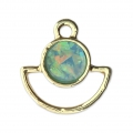 Metal and imitation opal half-moon charm 17x16 mm Blue/Gold Tone x1