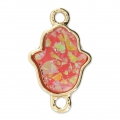Metal and imitation opal spacer hand of Fatma 22x13 mm Pink/Gold Tone x1