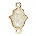 Metal and imitation opal spacer hand of Fatma 22x13 mm White/Gold Tone x1