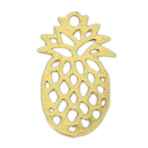 Dyed laser cut pineapple charm 15x9 mm Gold Tone x1