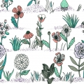 Cotton fabric - Hygge - Plants and Herbs - Off white/Green x10cm