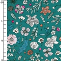 Cotton fabric - Hygge - Flowers - Green/Neon x10cm