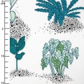 Cotton fabric - Hygge - Plants - White/Green x10cm